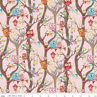 FLANNEL by 1 2 Yard Riley Blake Fabric Tree Party Main Owls in Pink