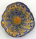 HAND BLOWN GLASS ART WALL PLATTER BOWL blue gold PATTERNED 7411 ONEIL