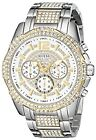 NEW GUESS Mens U0291G4 Two-Tone Chronograph Watch with Genuine Crystals in Silve