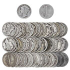 Mercury Dime Roll 90% Silver $5 Face 50 Circulated Mixed Date US Coin Lot
