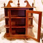 VINTAGE ANTIQUE CARVED WOODN LARGE WALL SHELF CABINET WITH GLASSES DOOR 3 FLOORS