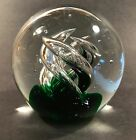 Vintage Large Art Glass Swirled Controlled Bubbles Paperweight Unsigned