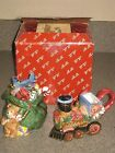 1994 Fitz & Floyd Christmas Holiday Santa's List Sugar/Creamer W/Spoon 19/843