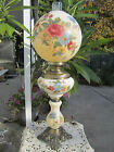 GORGEOUS Vintage Cream Gone With The Wind Flowers Hurricane Parlor Banquet Lamp