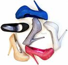 New Womens High Heels Platform Stiletto Pumps Glitter Sparkle Party Dress Heel