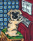 Pugplaying p[iano signed dgo art print 11x17 glossy modern artwork music room