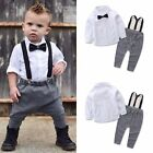 Toddler Baby Boys Dress Formal Wear Shirt + Suspenders Overall Outfits Wedding
