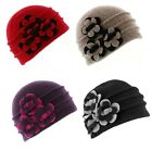 Ladies Wool Beanie Hat With Flower Detail lots of colours From Whiteley Hats