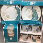 16pc 222Fifth Peacock Garden Dinnerware Dinner Salad Plate Soup Bowl Mug Set NEW
