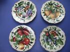 4 ONEIDA SAKURA  SONOMA SALAD PLATES APPLES, PEARS, GRAPES PATTERN on LIGHT TAN