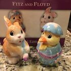 FITZ AND FLOYD PAINTING EASTER EGGS SALT & PEPPER SHAKERS NIP Bunny Duck