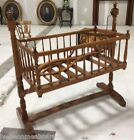 ANTIQUE COUNTRY TIGER MAPLE SWINGING CHILDS CRADLE W CANOPY TESTER TOP