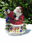 FITZ & FLOYD ESSENTIALS TOYLAND CHRISTMAS CANAPE PLATE SANTA CLAUS HAND PAINTED