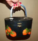 VTG 60s handcrafted art DECOUPAGE 3-D STRAWBERRIES-WOODEN BOX PURSE
