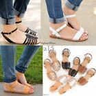 New Womens Sandals Flat Strappy Gladiator Open Toe Shoes Size Faux Leather