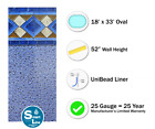 18 x 33 x 52 Oval Unibead Mosaic Above Ground Swimming Pool Liner 25 Gauge