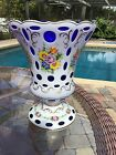 Large Hand Painted Floral Bohemian Cut to Cobalt Blue Overlay Crystal Vase Moser