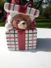 Fitz and Floyd Plaid Christmas Teddy Covered Trinket  Box Retired 1991