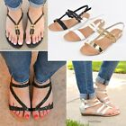 NEW Womens Casual Summer Flat Thong Strappy Gladiator Sandals Shoes Size