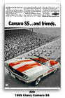 13x19 1969 Chevrolet Camaro SS 396 Indy 500 Pace Car Ad Poster Chevy 350 RS 69