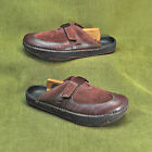 EARTH KALSO EXER CLOG Burgundy Leather  Suede Clogs Womens sz 6 B