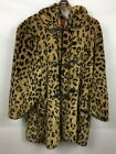 Womens Vintage 70s Faux LEOPARD Fur Coat HILLMOOR New York Size 16 USA Made
