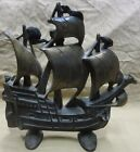 Old Cast Iron Nautical Sailing Ship Doorstop Creation Co c1930 Wonderful Detail