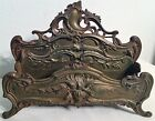 LARGE ORNATE ANTIQUE ART NOUVEAU BRONZE LETTER HOLDER CADDY DESK SET CHILD FACE