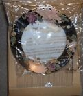 4 NOS Fitz And Floyd CLOISONNE PEONY 1979 Black Rim Salad Plates 7 3/8 in.
