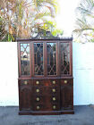 Early 1900's Tall Hand Carved Flame Mahogany Breakfront Cabinet with a Desk 8158