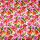 Magenta Pink  Red Orange Flowers on White Fabric by Classic Cottons Per 1 2 Yd