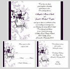 100 Personalized Purple Floral Wedding Invitations Set Reception RSVP Cards