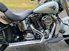 Stepped Chrome Exhaust Drag Pipes Header w Heat Shields Baffles Harley Softail
