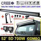 52Inch 700W Combo +4 18W Led Light bar+Mount Brackets Fit For Jeep Wrangler JK