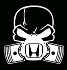 5 Inch Honda Piston Skull Car Window Vinyl Decal Sticker.