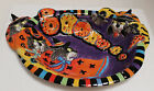 Fitz and Floyd Halloween Ceramic Platter Tray Kitty Witches Boo Bowl Large