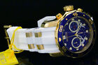 New Invicta Men's Scuba Pro Diver Chrono 18K Gold Plated Blue Dial SS Poly Watch