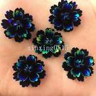 Black DIY 12pcs 25mm AB Resin 3d flower Flatback Rhinestone Wedding button craft