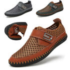 Mens Casual Mesh Shoes Slip on Loafers Leather Shoes Driving Summer Breathable