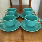 Fiesta Turquoise Cups And Saucers Set Of 4