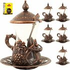 SET OF 6 Turkish Tea Serving Set Glasses Saucer Spoons SET Copper