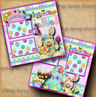EASTER egg decorating 2 premade scrapbook pages paper piecing layout DIGISCRAP