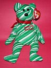 TY 2007 HOLIDAY TEDDY BEAR~ GREEN STRIPES BEANIE BABY