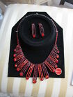Murano ITALY custom ballroom Jewelry RED new earrings and necklace