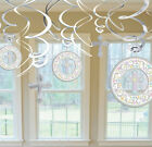 Cross Hanging Dangling Foil Swirl Decorations 12 Piece Set 670005