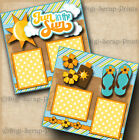 FUN IN THE SUN 2 premade scrapbook pages paper peicing vacation beach DIGISCRAP