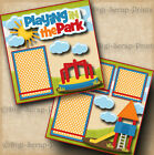 PLAYING IN THE PARK 2 premade SCRAPBOOK pages paper piecing boy girl DIGISCRAP