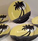 Palm Beach Fitz And Floyd Plates Set Of (5) Yellow Black White 7 1/2