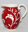 FITZ & FLOYD FF Town & Country PITCHER Red White HAND CRAFTED 9 1/4