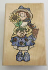 SUNFLOWER Girl Rubber Stamp Large 1998 NOS Stampendous Plants Dress New